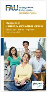 Flyer des Elite-Masterstudienganges: Standards of Decision-Making Across Cultures.