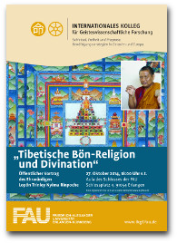 """Vortrag des ehrw. Lopön Trinley Nyima Rinpoche zu """"Tibetische Bön-Religion und Divination"""" am 27. Oktober 2014 im IKGF."""
