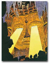 Ein riesiger goldener Buddha-Kopf aus einem Comic-Buch.