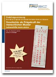 """Flyer für die Dreikönigsvorlesung """"Geschichte als Prägekraft der menschlichen Muster"""" 2017."""