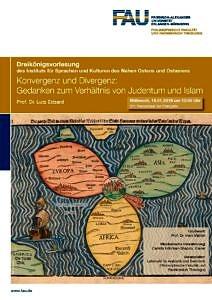 """Flyer der Dreikönigsvorlesung """"Konvergenz und Divergenz - Gedanken zum Verhältnis von Judentum und Islam""""."""