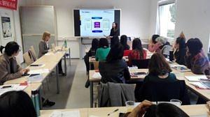 Ein Unterricht mit Mitteln des E-Learning-Projektes.