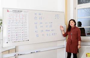 Ein Sprachkurs in den Räumlichkeiten des Konfuzius-Institut Nürnberg-Erlangen in Nürnberg 2018.