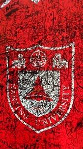 Das Wappen der Nanjing University mit den Unterschriften der Studierenden.
